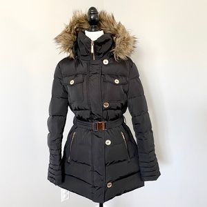 Michael Kors Down Feather Faux Fur Hooded Coat
